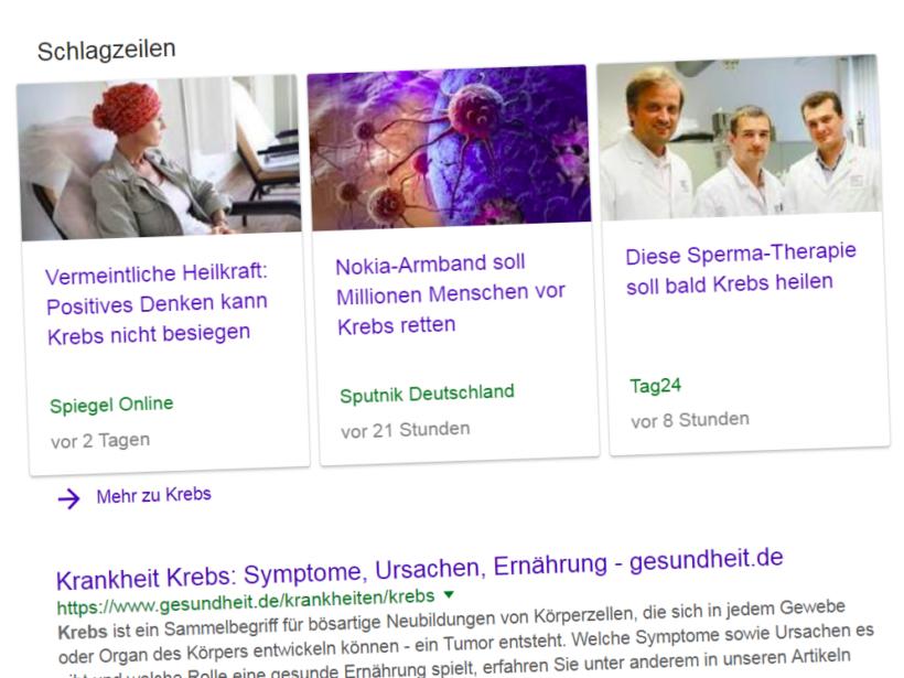 """Treffer bei Internet-Suche nach dem Begriff """"Krebs""""."""