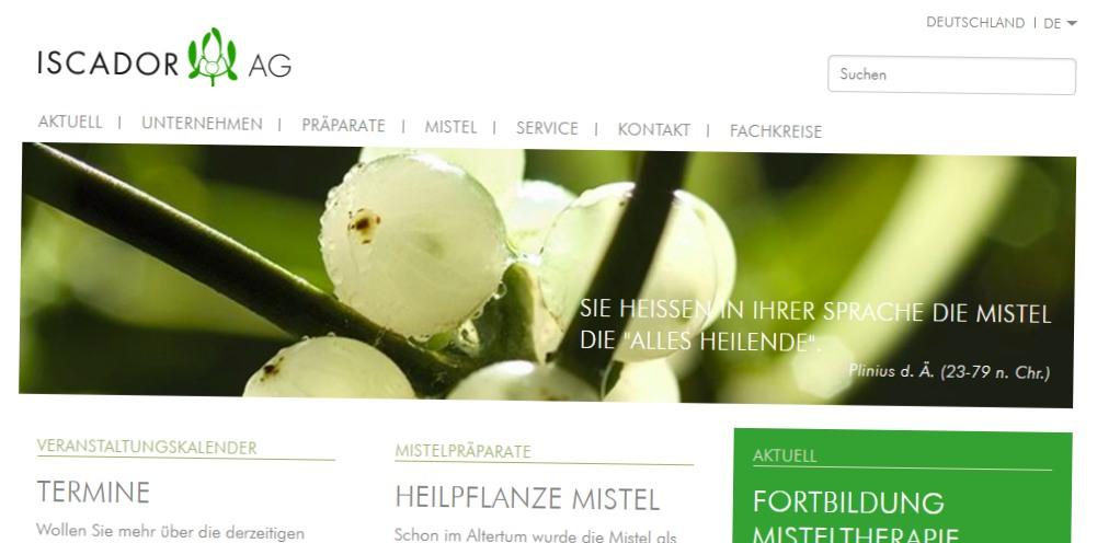 Screenshot der Webseite der Firma Iscador