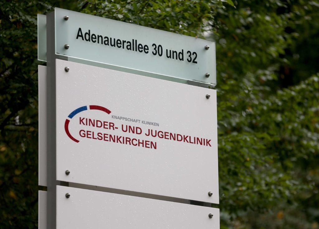 Foto eines Schildes der Kinder- und Jugendklinik Gelsenkirchen