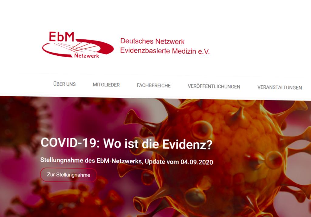 Screenshot der Homepage des EbM-Netzwerks