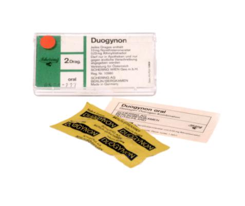 Foto: Die Verpackung von Duogynon, dem Hormonpräparat des Pharmaherstellers Schering