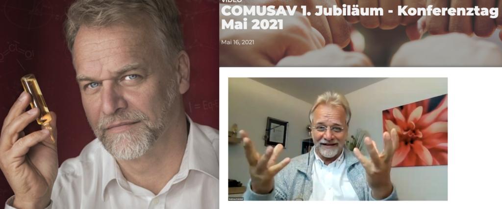 Aktiv mit Chlordioxid: Andreas Kalcker (Buchcover) und auf einer Comusav-Konferenz im Mai (Screenshots: MedWatch)